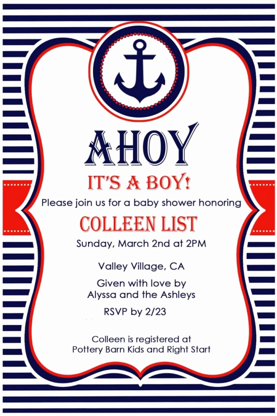 Nautical Baby Shower Invitation Templates Lovely Nautical Baby Shower Invitations Free Nautical Baby