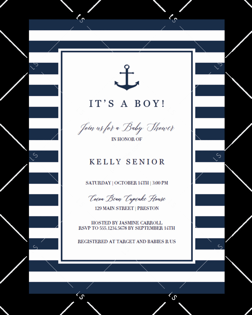 Nautical Baby Shower Invitation Templates Lovely Nautical Baby Shower Stationary Collection