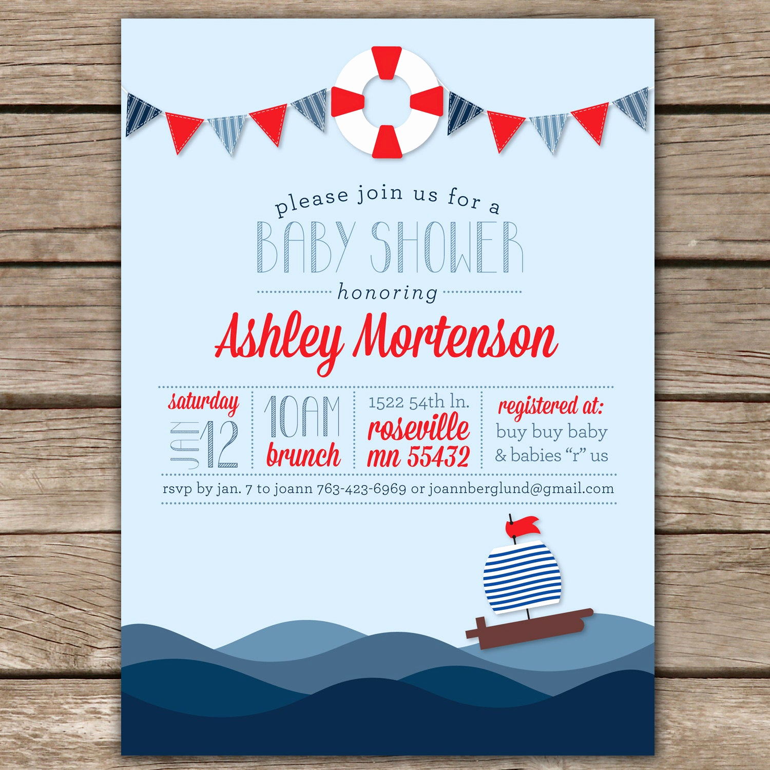 Nautical Baby Shower Invitation Templates Luxury Nautical Shower Ii Custom Digital Baby Shower Invitation