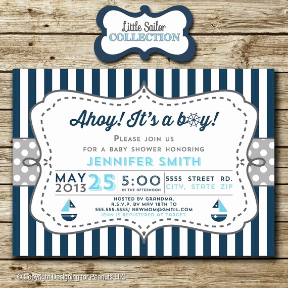 Nautical Baby Shower Invitation Templates Luxury Sailboat Baby Shower Invitation Nautical by