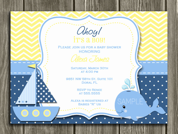 Nautical Baby Shower Invitation Templates Luxury Whale Nautical Sailboat Birthday Invitation Yellow