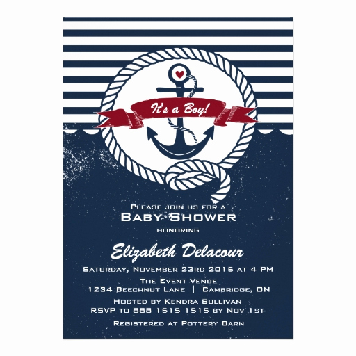 "Nautical Baby Shower Invitation Templates New Navy & Red Rustic Nautical Baby Shower Invitation 5"" X 7"