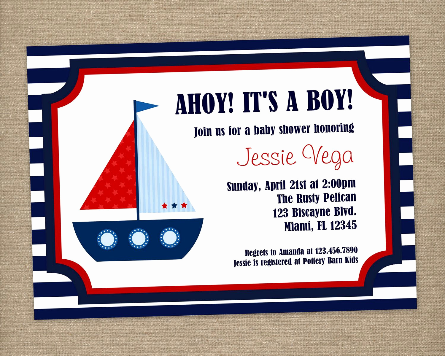 Nautical Baby Shower Invitation Templates Unique Ahoy It S A Boy Custom Printable Nautical Baby Shower or
