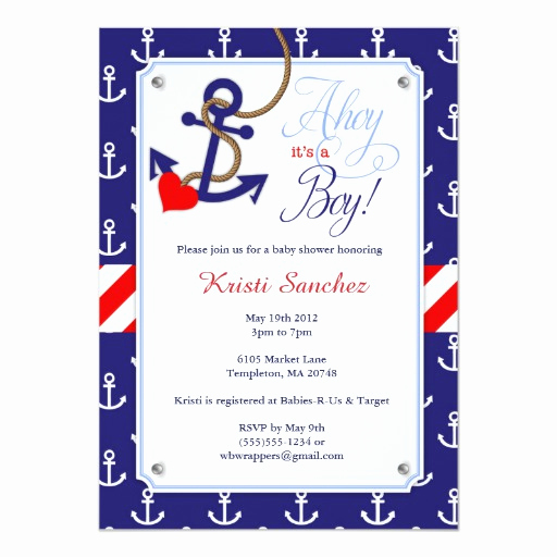 Nautical Baby Shower Invitation Templates Unique Nautical themed Baby Shower Invitation
