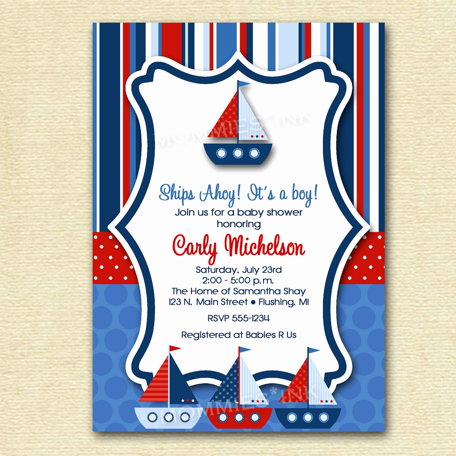 Nautical theme Baby Shower Invitation Beautiful Baby Shower Invitation Ships Ahoy Baby Shower Sailboat