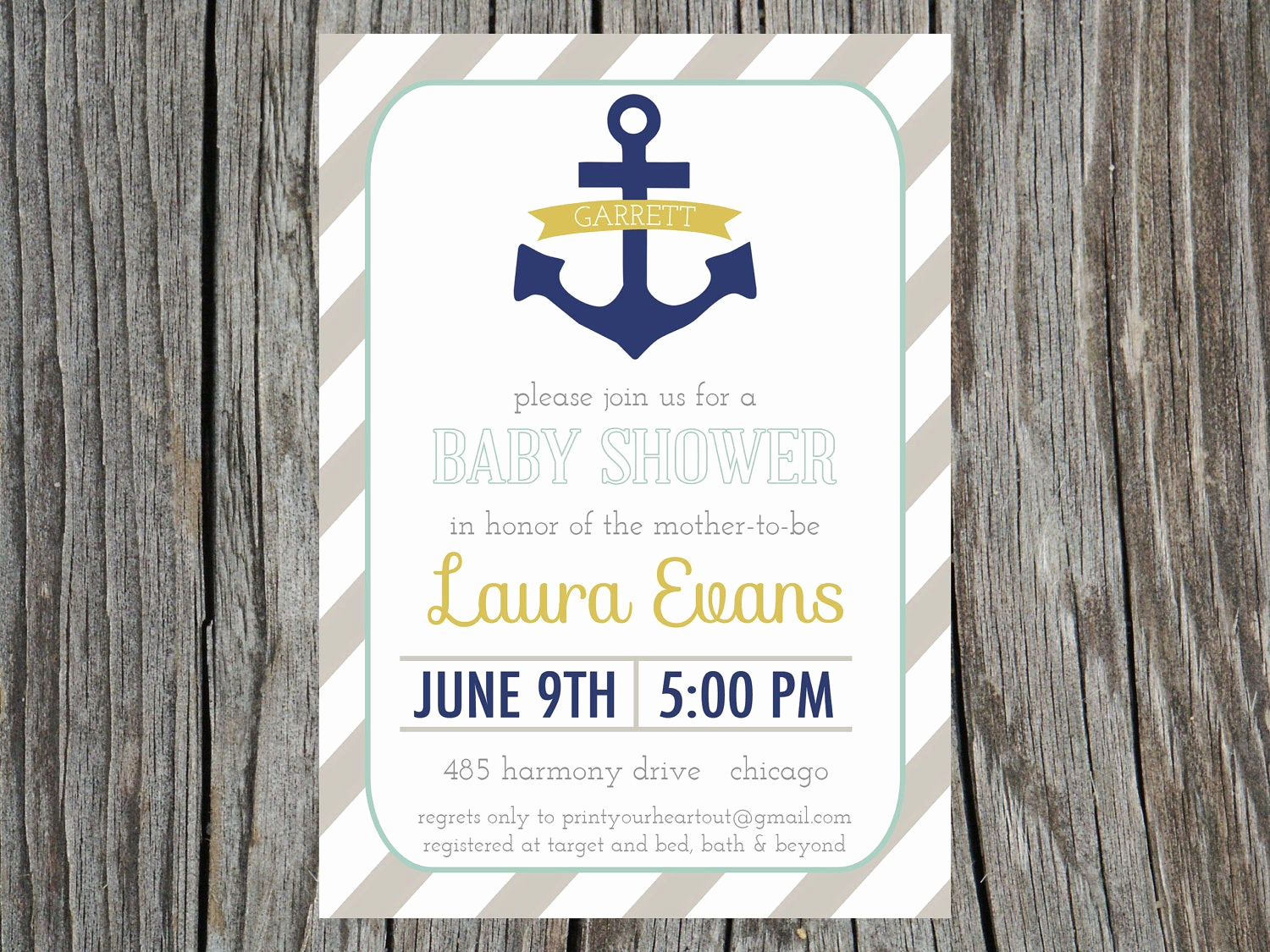 Nautical theme Baby Shower Invitation Beautiful Kitchen & Dining