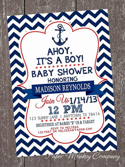 Nautical theme Baby Shower Invitation Fresh Custom Printed Navy Blue and Red Chevron Nautical Baby