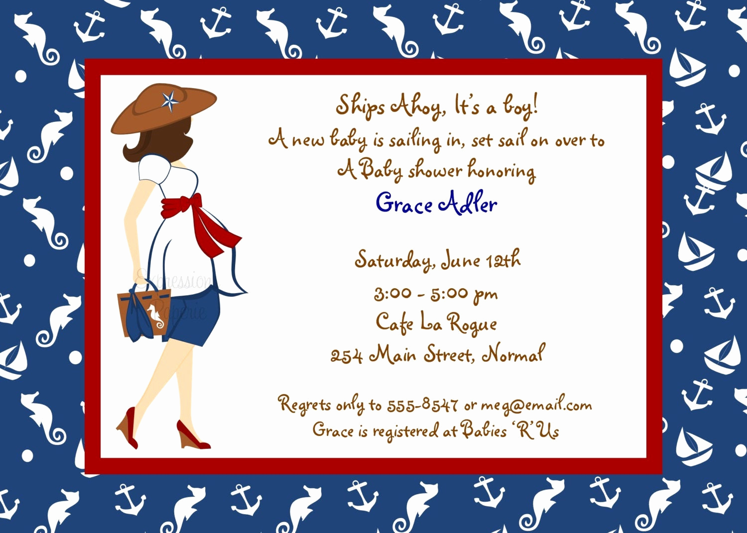 Nautical theme Baby Shower Invitation Fresh Expressionspaperie On Etsy