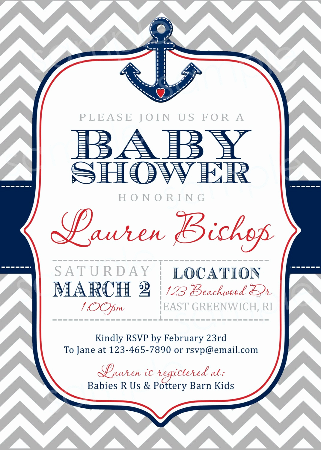 Nautical theme Baby Shower Invitation Inspirational Nautical Chevron Print Baby Shower Invite Diy by Modpoddesigns