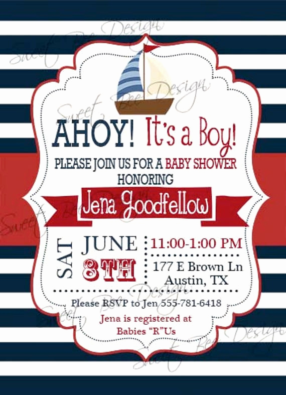 Nautical theme Baby Shower Invitation Lovely Nautical Baby Shower Invitation Nautical Baby Shower