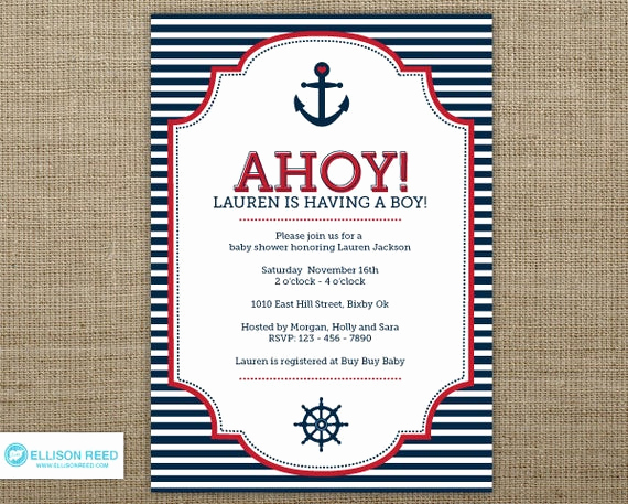 Nautical theme Baby Shower Invitation New Items Similar to Nautical Baby Shower Invitation