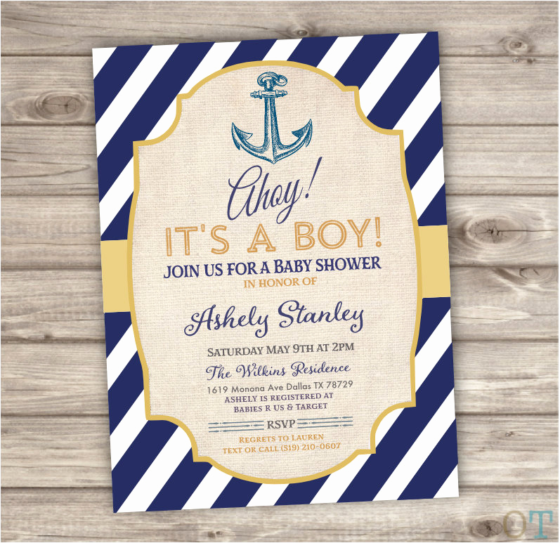 Nautical theme Baby Shower Invitation New Nautical Baby Shower Invitations Navy Gold Ahoy Summer Party