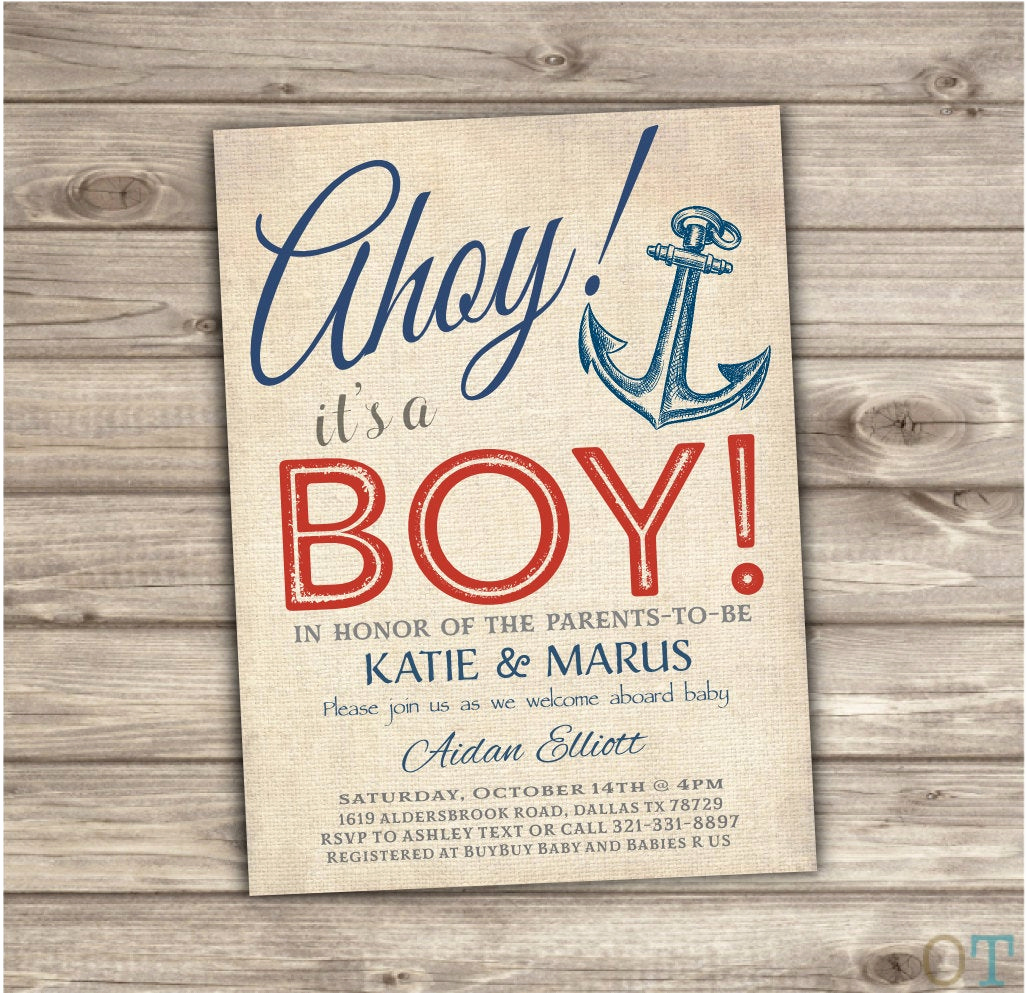 Nautical theme Baby Shower Invitation New Nautical Baby Shower Invitations Navy Red Stripes Summer theme