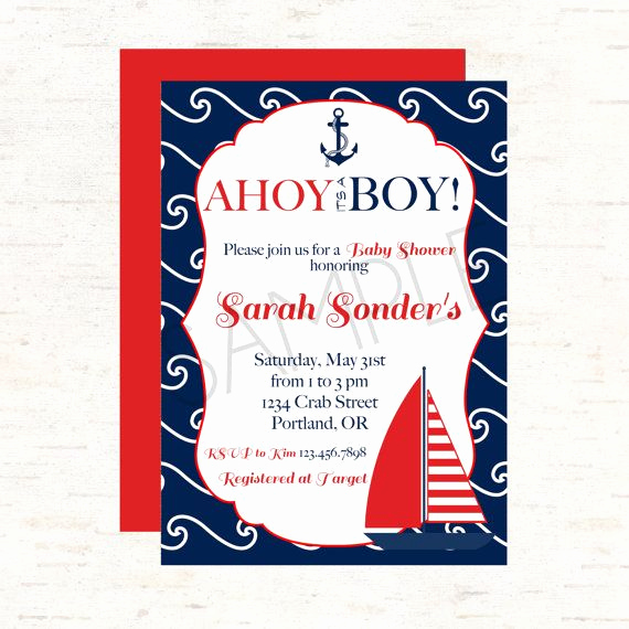 Nautical theme Baby Shower Invitation Unique Nautical Sailboat and Anchor theme Baby Shower Invitation