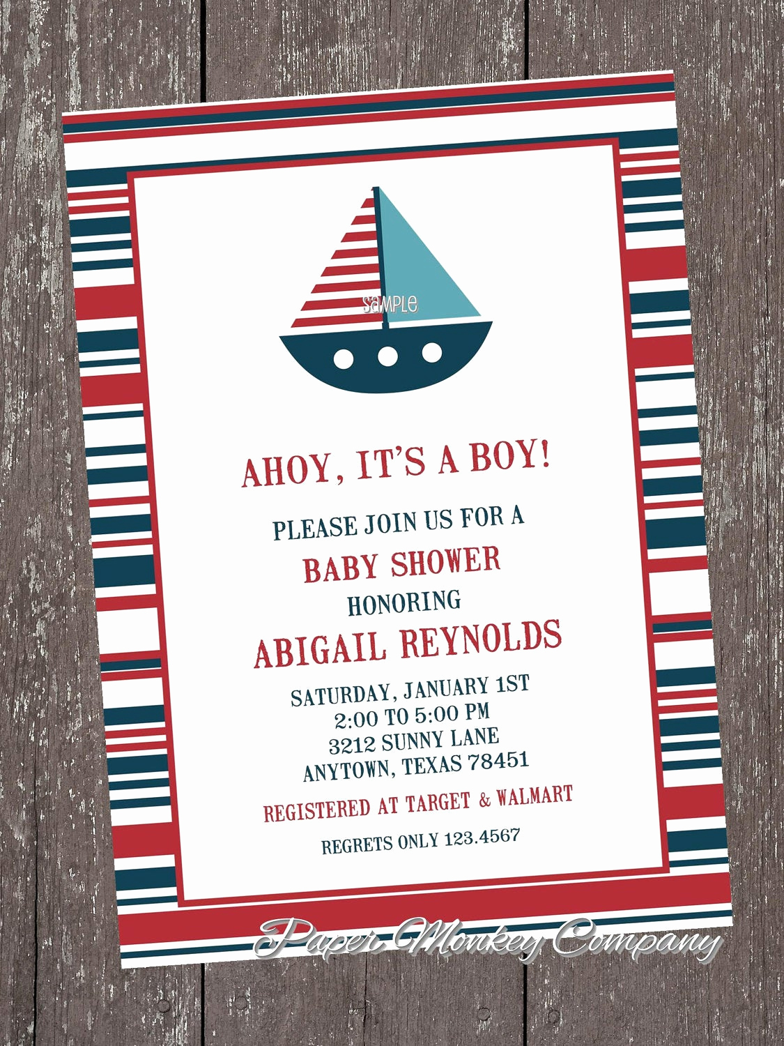 Nautical theme Baby Shower Invitation Unique Nautical Sailboat Baby Shower Invitations