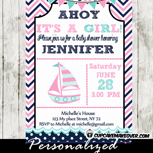 Nautical theme Baby Shower Invitation Unique Pink and Blue Nautical Baby Shower Invitation