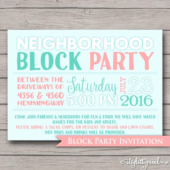 Neighborhood Block Party Invitation Awesome Neighborhood Block Party Invitation Announcement Invite Card