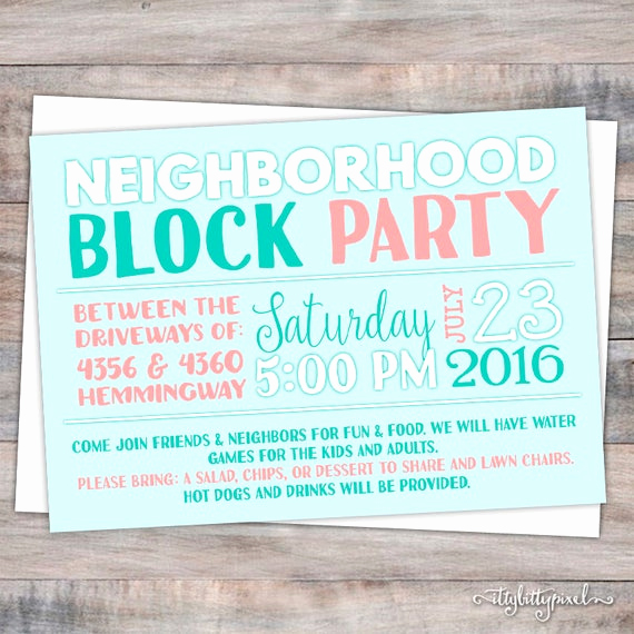 Neighborhood Block Party Invitation Beautiful Neighborhood Block Party Invitation Announcement Invite Card