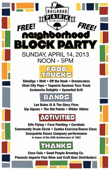 Neighborhood Block Party Invitation Unique Railroad Park Planning Neighborhood Block Party for April