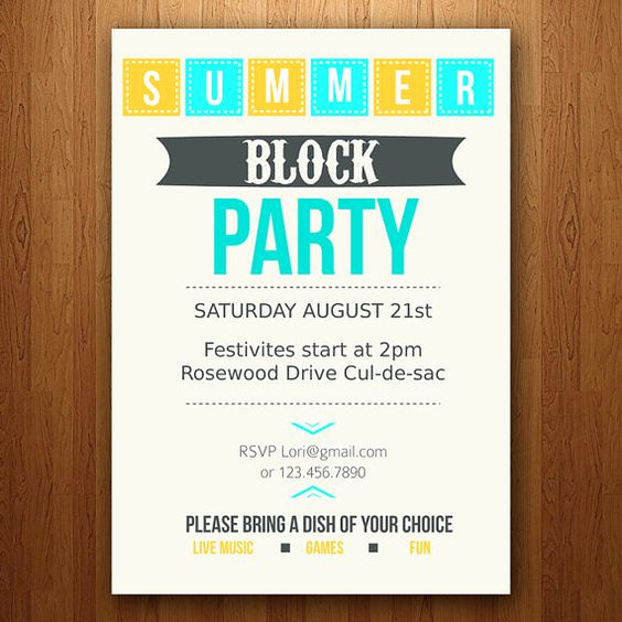 Neighborhood Party Invitation Wording Awesome Block Party Party Invitations and Invitations On Pinterest