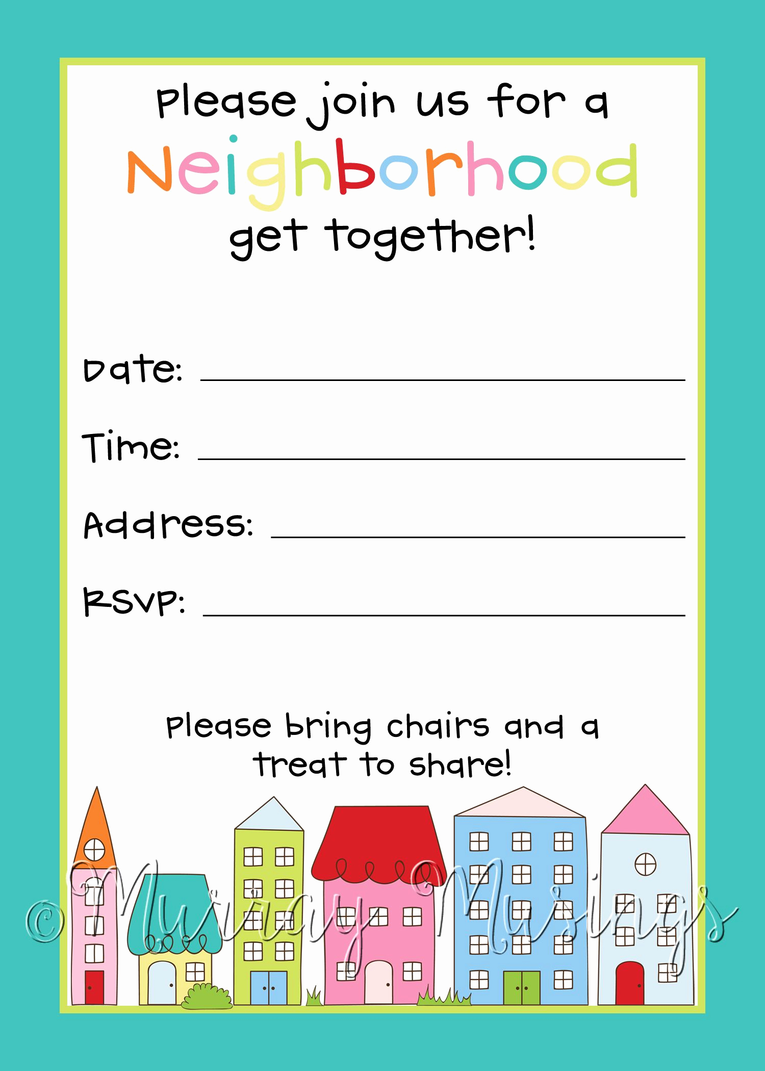 Neighborhood Party Invitation Wording Awesome Neighborhood Block Party Invitation Freeprintable