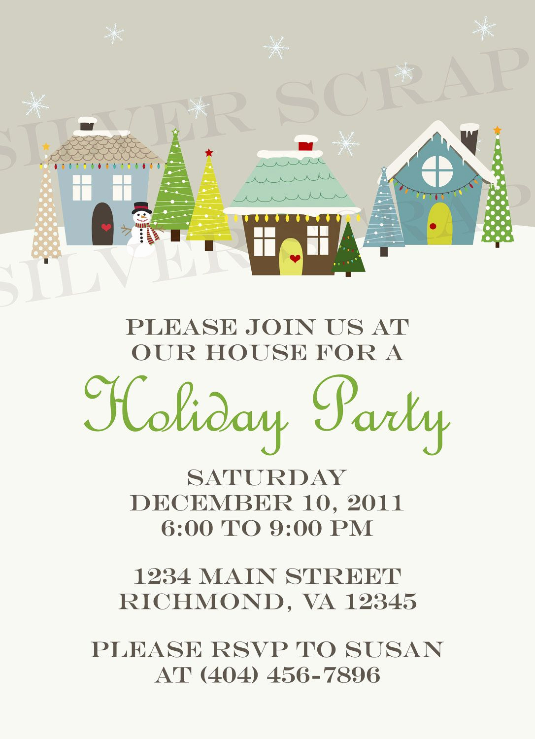 Neighborhood Party Invitation Wording Elegant Custom Holiday Houses Christmas Party Invitation Winter