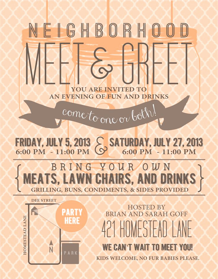 Neighborhood Party Invitation Wording Elegant Signatures by Sarah Meet N Greet Party Invitation and