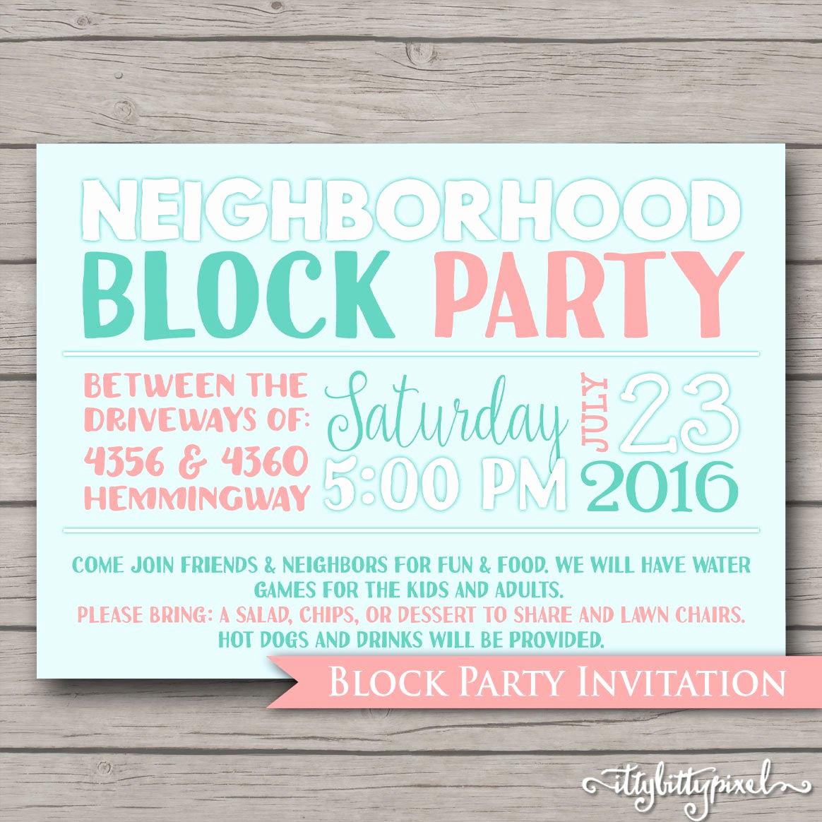 Neighborhood Party Invitation Wording Fresh Neighborhood Block Party Invitation Announcement Invite Card