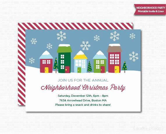 Neighborhood Party Invitation Wording Fresh Neighborhood Party Invitation Printable Christmas Open House