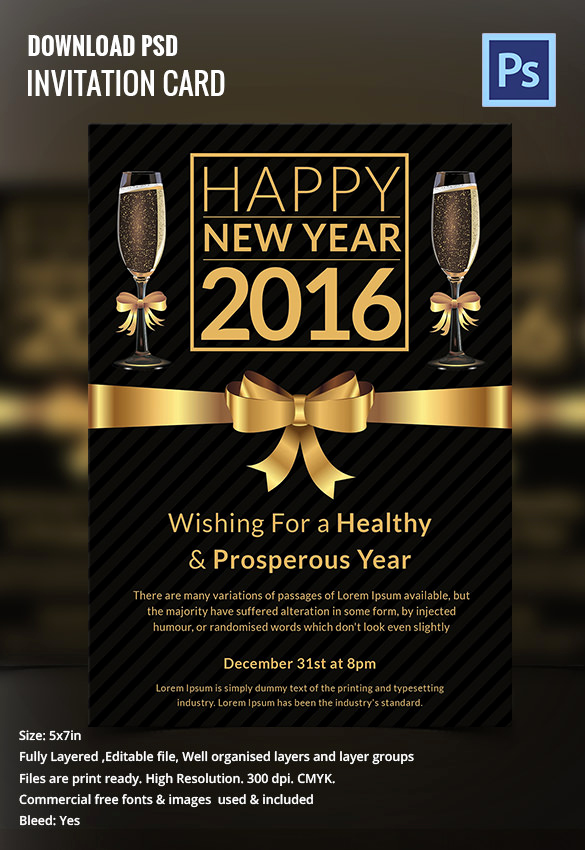 New Year Invitation Template Elegant 28 New Year Invitation Templates – Free Word Pdf Psd