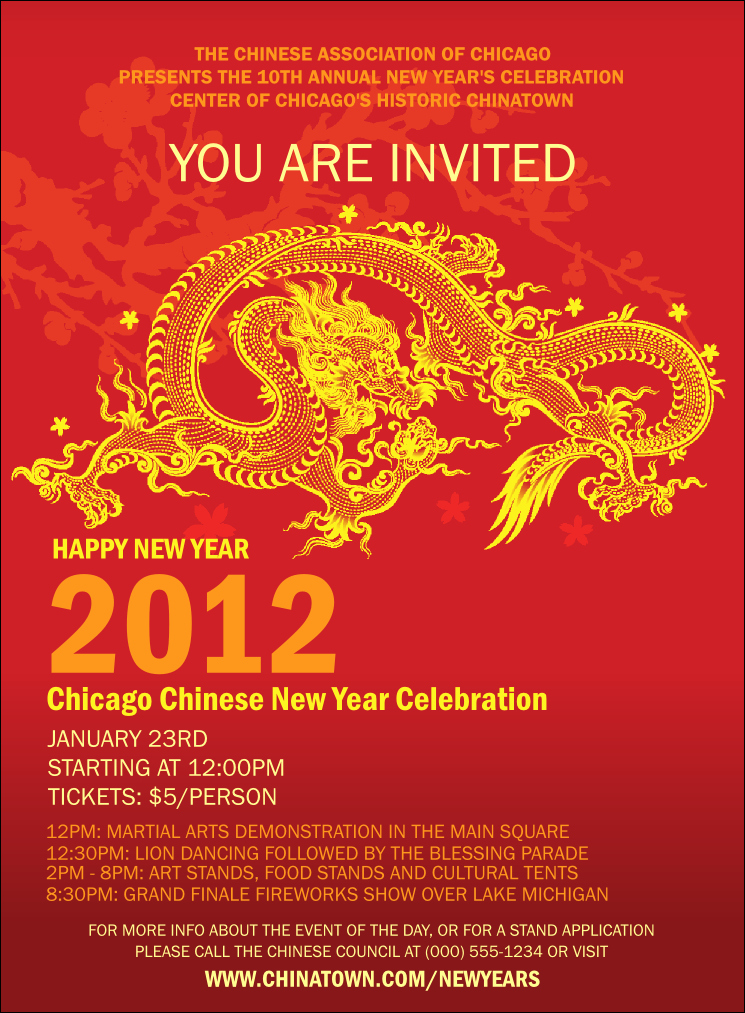 New Year Invitation Template Lovely Chinese New Year Invitation