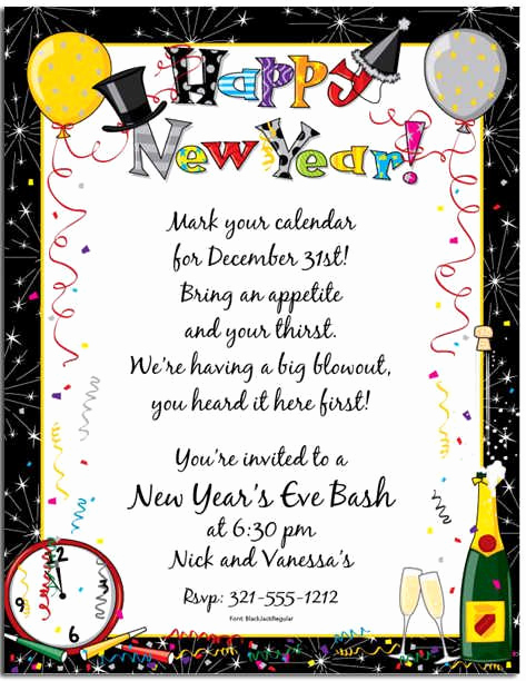 New Year Invitation Template Unique Awesome New Year Party Invitation Wording Free Templates