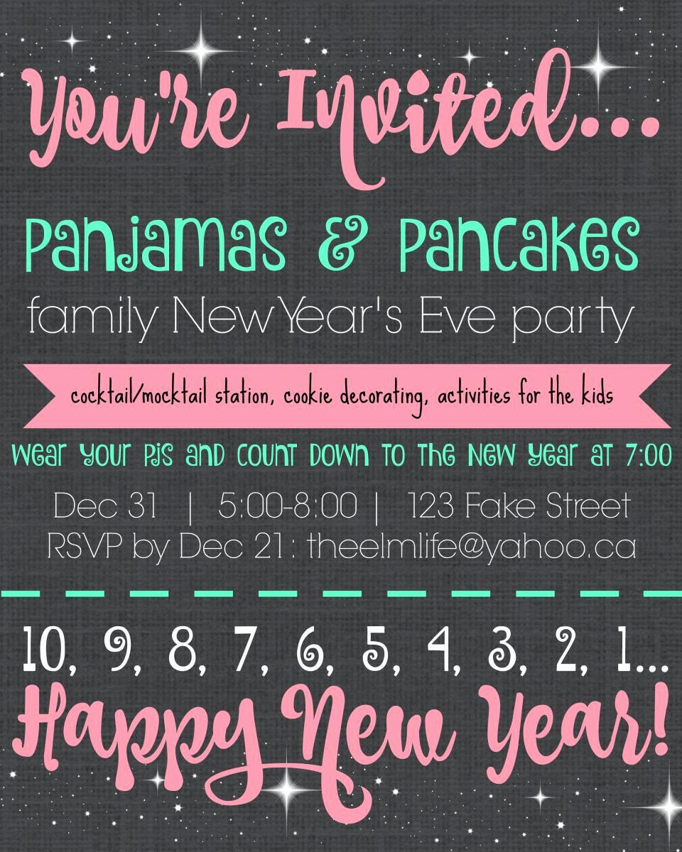 New Year Invitation Wording Luxury Pajamas & Pancakes Family New Year S Eve Party Invitation
