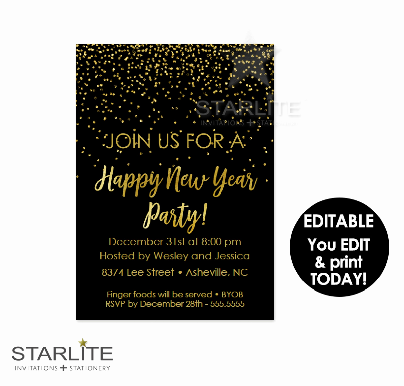 New Year Party Invitation Beautiful New Year S Eve Party Invitation Editable Instant Download