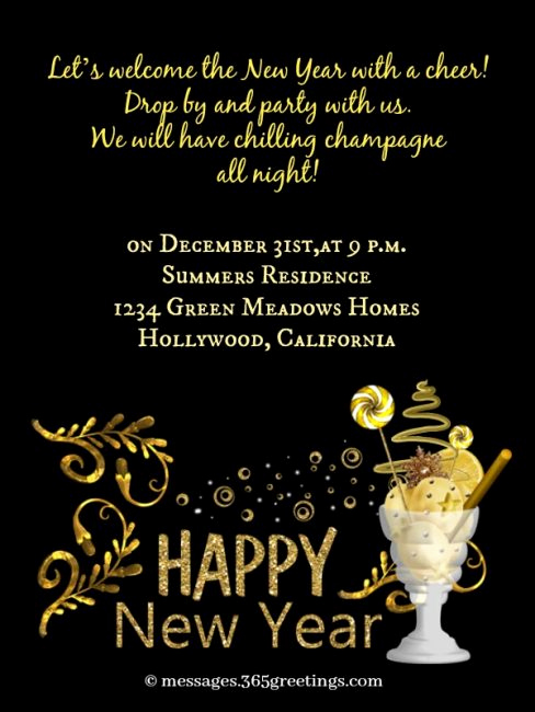 New Year Party Invitation Best Of New Year Party Invitation Wording 365greetings