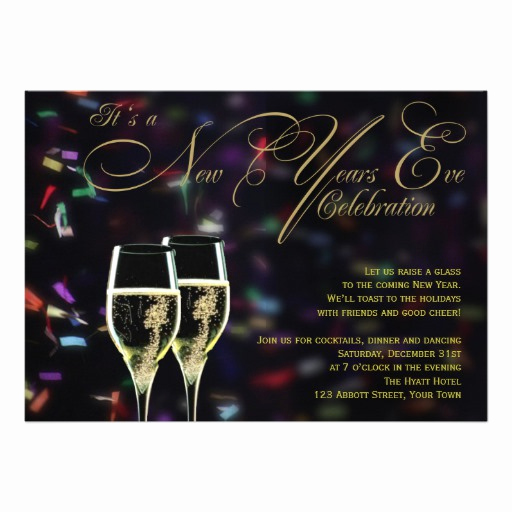 "New Year Party Invitation Luxury Champagne Confetti New Years Eve Party Invitation 5"" X 7"