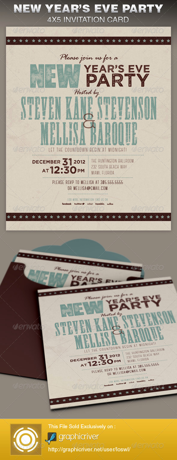 New Year Party Invitation Template Awesome Retro New Year Party Invite Card Template