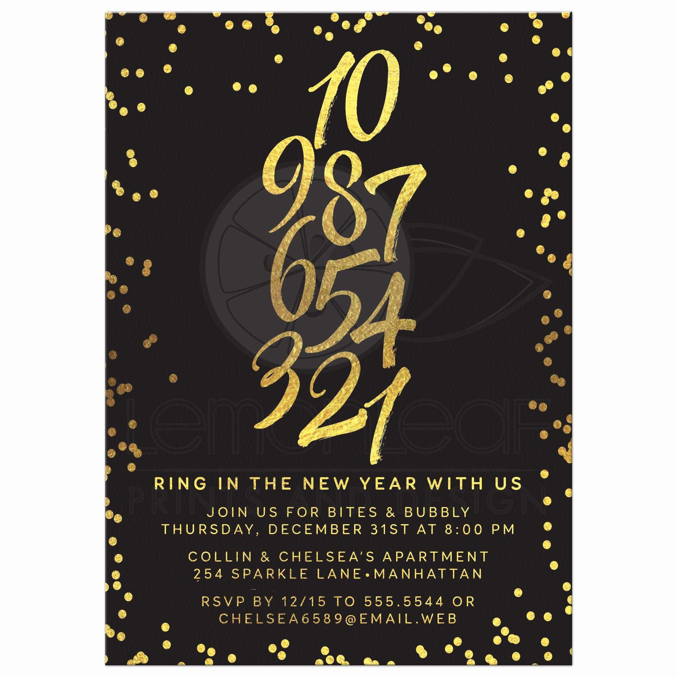 New Year Party Invitation Template New New Year S Eve Party Invitation Golden Confetti Countdown