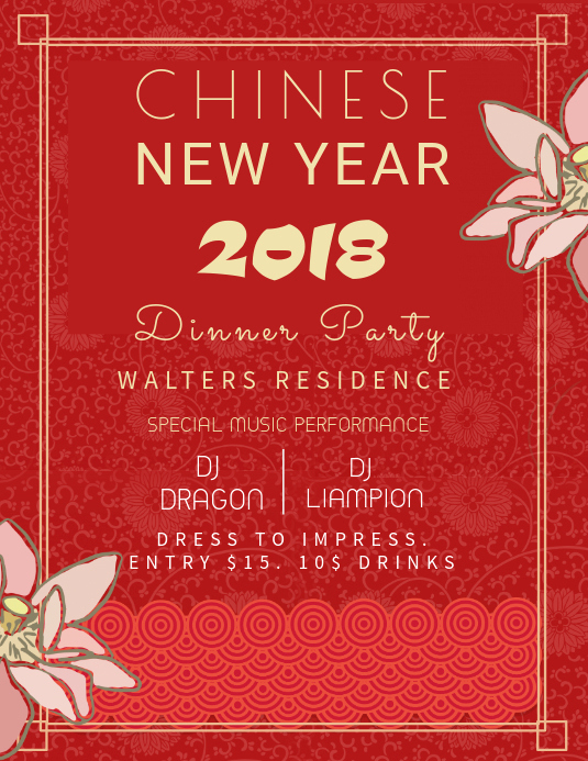New Year Party Invitation Wording Lovely Chinese New Year Party Invitation Template
