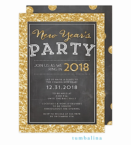New Year Party Invitation Wording Lovely New Year S Eve Party Invitations Glitter Gold Chalkboard