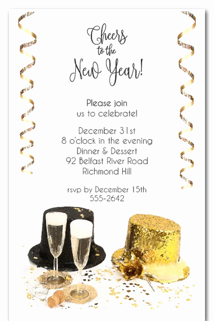 New Year Party Invitation Wording Lovely top Hats New Year S Eve Invitations New Year S Eve