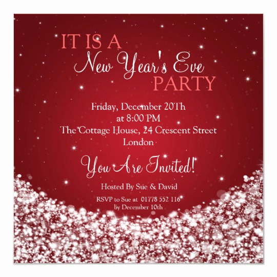 New Years Eve Invitation Template Elegant New Years Eve Party Night Sparkle Red Invitation