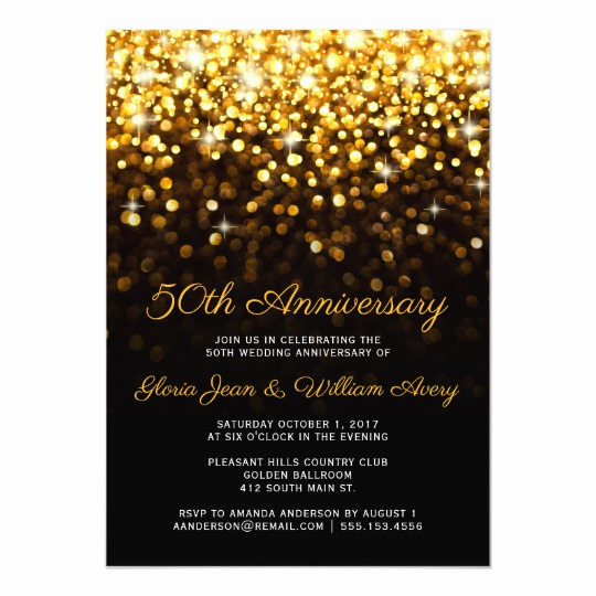 New Years Eve Invitation Template Fresh Gold Black Hollywood Glam 50th Wedding Anniversary