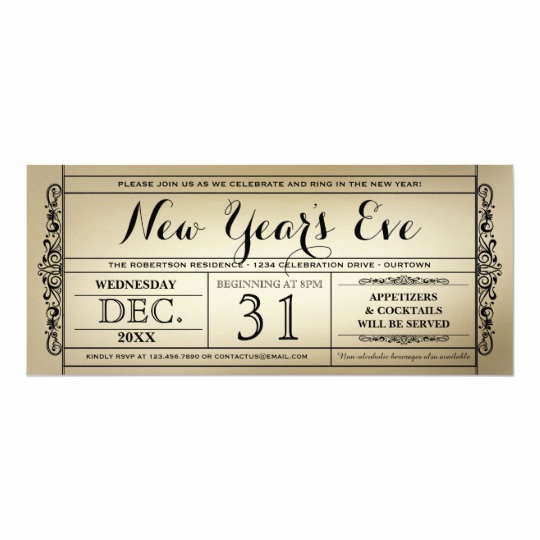 New Years Eve Invitation Template Unique Vintage Ticket New Year S Eve Party Invitations