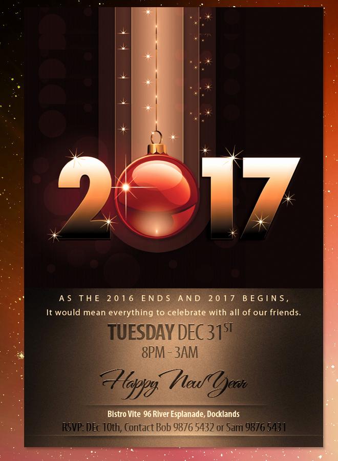 New Years Eve Invitation Templates Beautiful 2017 New Years Eve Dinner Invitation Brown theme Flyer