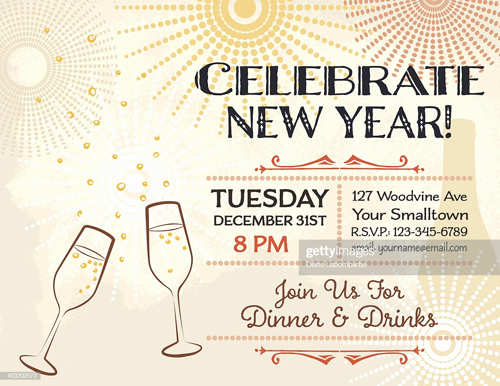 New Years Eve Invitation Templates Lovely New Years Eve Party Invitation Template Stock Vector