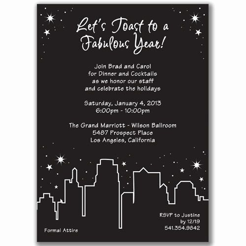 New Years Eve Invitation Wording Beautiful Holiday In the City Invitations for New Year S Eve Party