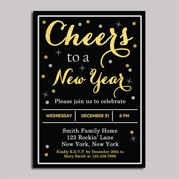 New Years Eve Invitation Wording Luxury New Years Invitation Printable Gold Foil Cheers Adult