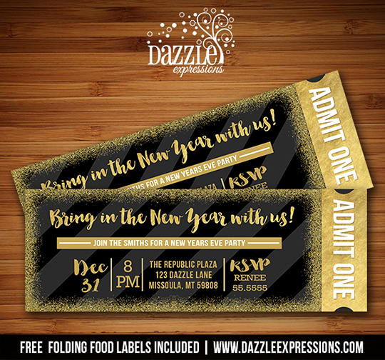 New Years Eve Invitation Wording Luxury Printable New Years Eve Party Glitter Ticket Invitation