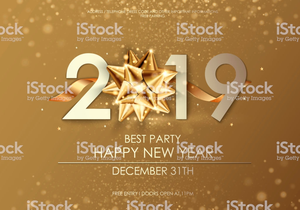 New Years Invitation 2019 Beautiful Happy New Year 2019 Winter Holiday Greeting Card Design